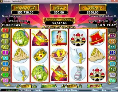 Play slots at Intertops: Intertops featuring the video-Slots Aladdin's Wishes with a maximum payout of $250,000