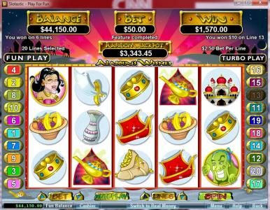 Slotastic featuring the video-Slots Aladdin's Wishes with a maximum payout of $250,000