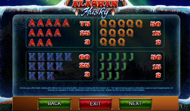 Euro Slots featuring the Video Slots Alaskan Husky with a maximum payout of $100,000