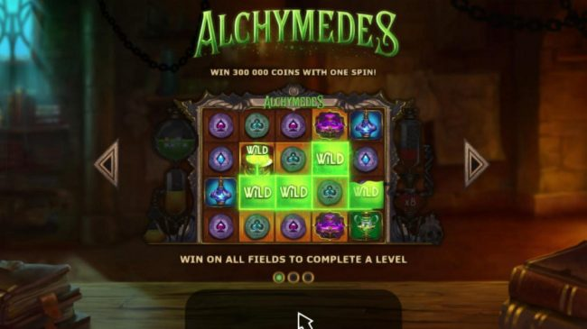 Intercasino featuring the Video Slots Alchymedes with a maximum payout of $600,000