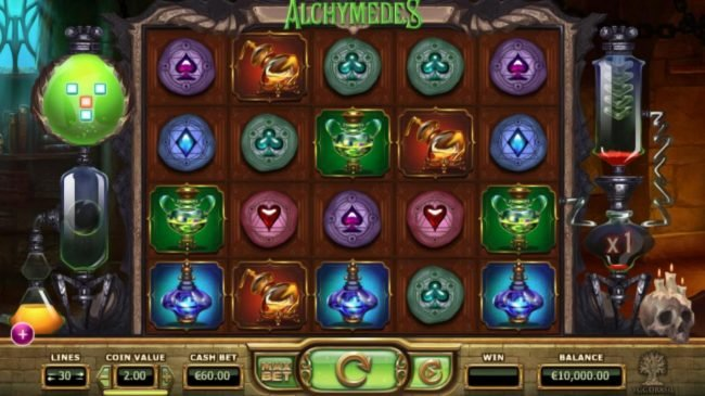 Omnia featuring the Video Slots Alchymedes with a maximum payout of $600,000