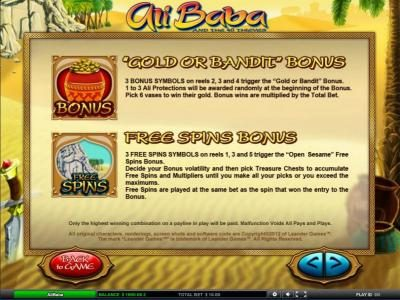 Gold or Bandit Bonus and Free Spins Bonus feature game rules