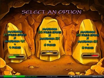 select a free spins bonus option