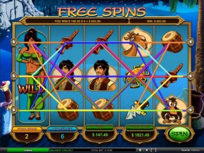 multiple winning paylines triggers a 603 coin big win during free spins bonus feature.