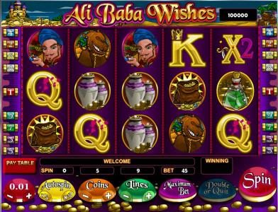 Boaboa featuring the Video Slots Ali Baba Wishes with a maximum payout of $45,000