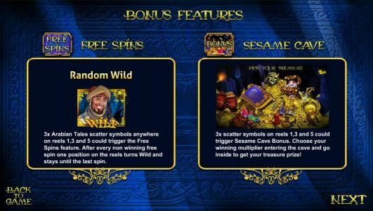free spins and sesmae cave bonus feature rules