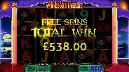 free spins paysout a $538 award