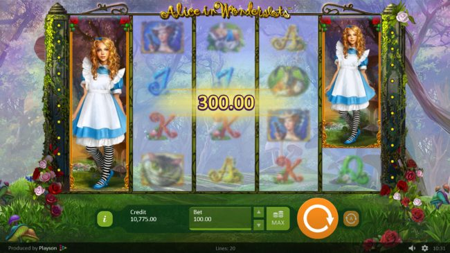 Lord of the Spins featuring the Video Slots Alice in Wonderslots with a maximum payout of $50,000