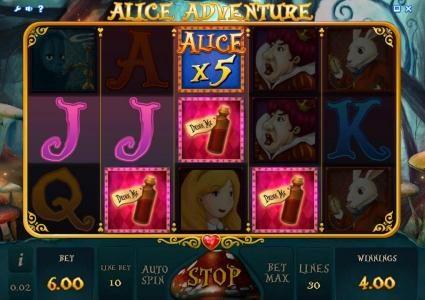 Alice Adventure :: three drink me icons triggers bonus feature