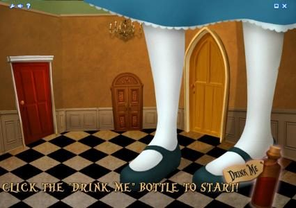 Alice Adventure :: bonus feature game board - click the drink me bottle to start