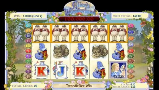 Tweedle Dee five of a kind 150 coin jackpot