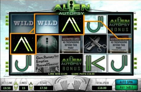 Alien Autopsy :: multiple winning paylines triggers an $18 jackpot