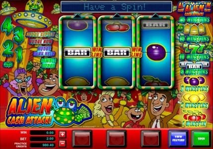 7Sultans featuring the Video Slots Alien Cash Attack with a maximum payout of $5,000