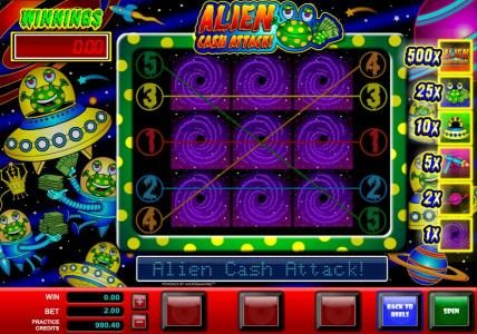 Casino Mate featuring the Video Slots Alien Cash Attack with a maximum payout of $5,000