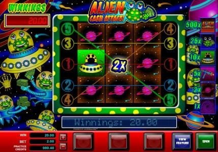 Dream Vegas featuring the Video Slots Alien Cash Attack with a maximum payout of $5,000