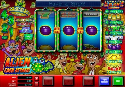 Music Hall featuring the Video Slots Alien Cash Attack with a maximum payout of $5,000