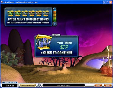 Joyland Casino featuring the Video Slots Alien Hunter with a maximum payout of Jackpot