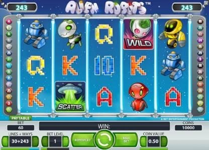 Cheeky Riches featuring the Video Slots Alien Robots with a maximum payout of $25,000