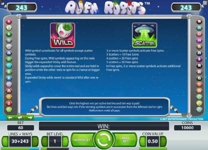 Wicked Jackpots featuring the Video Slots Alien Robots with a maximum payout of $25,000