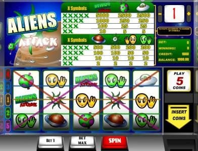 Vbet Casino featuring the Video Slots Aliens Attack with a maximum payout of $5,000