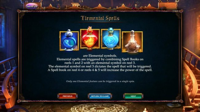 Elemental Spells are triggered by combining Spell Books on reels 1 and 2 with an elemental symbol on reel 3.