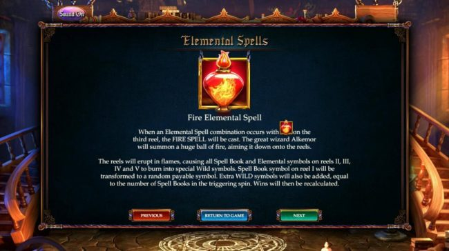 Fire Elemental Spell - When an elemental spell combination occurs with the Fire elemental symbol on the 3rd reel, the Air Spell is cat. The great Wizard Alkemor summons a huge ball of fire, aiming it down onto the reels.