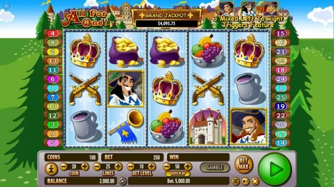 Rich Casino featuring the Video Slots All For One! with a maximum payout of $2,500,000