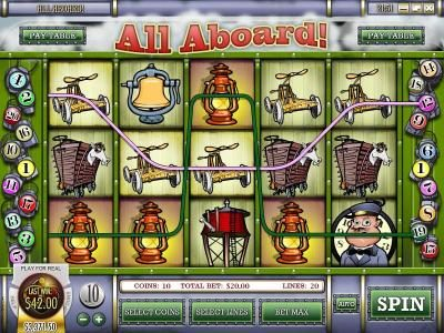 Play slots at Winbig21: Winbig21 featuring the Video Slots All Aboard with a maximum payout of $4,000