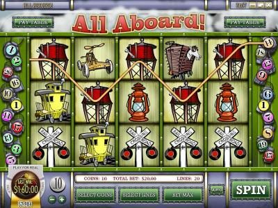 Vegas2Web featuring the Video Slots All Aboard with a maximum payout of $4,000