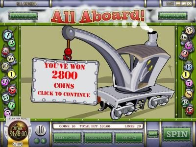 All Aboard :: you've won 2800 coins
