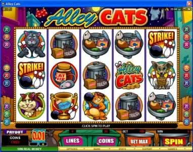Play slots at Bet At Casino: Bet At Casino featuring the Video Slots Alley Cats with a maximum payout of $50,000