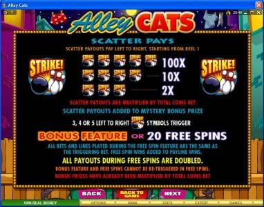 Winner Million featuring the Video Slots Alley Cats with a maximum payout of $50,000