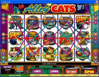 21 Dukes featuring the Video Slots Alley Cats with a maximum payout of $50,000