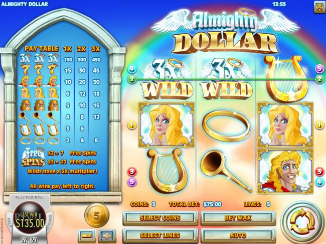 Grand Eagle featuring the Video Slots Almighty Dollar with a maximum payout of $25,000