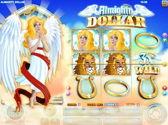 Club Vegas USA featuring the Video Slots Almighty Dollar with a maximum payout of $25,000
