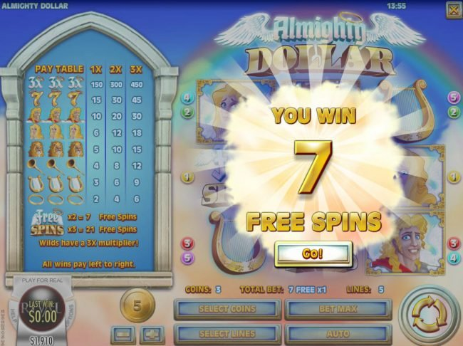 Casino Royal Club featuring the Video Slots Almighty Dollar with a maximum payout of $25,000