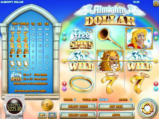 Mayan Fortune featuring the Video Slots Almighty Dollar with a maximum payout of $25,000