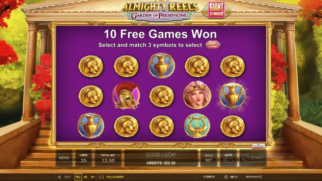 Winner Million featuring the Video Slots Almighty Reels Garden of Persephone with a maximum payout of $50,000