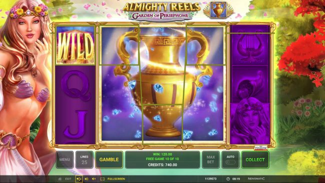 Casumo featuring the Video Slots Almighty Reels Garden of Persephone with a maximum payout of $50,000