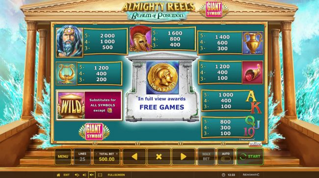 Almighty Reels Realm of Poseidon :: Paytable