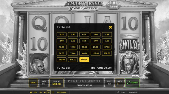 Almighty Reels Realm of Poseidon :: Betting Options