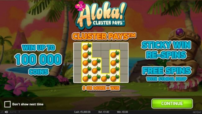 Play slots at Sun Play: Sun Play featuring the Video Slots Aloha Cluster Pays with a maximum payout of $500,000
