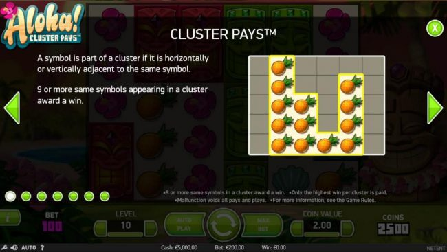 NordiCasino featuring the Video Slots Aloha Cluster Pays with a maximum payout of $500,000