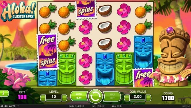 Yeti Casino featuring the Video Slots Aloha Cluster Pays with a maximum payout of $500,000