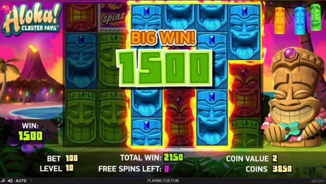 Videoslots featuring the Video Slots Aloha Cluster Pays with a maximum payout of $500,000