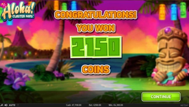 4 Stars featuring the Video Slots Aloha Cluster Pays with a maximum payout of $500,000