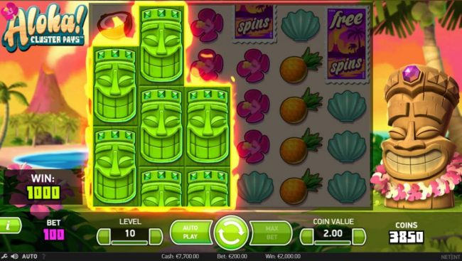 7 Gods Casino featuring the Video Slots Aloha Cluster Pays with a maximum payout of $500,000