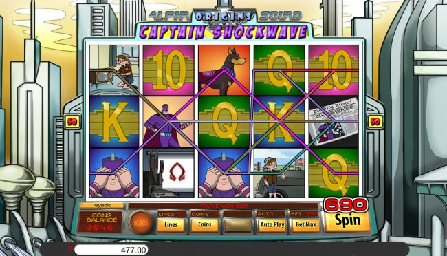 Lucky Creek featuring the Video Slots Alpha Squad Origins Captain Shockwave with a maximum payout of $15,000