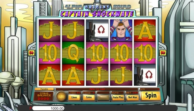 Big Dollar featuring the Video Slots Alpha Squad Origins Captain Shockwave with a maximum payout of $15,000