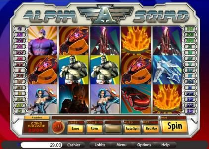 Platinum Reels featuring the Video Slots Alpha Squad with a maximum payout of $12,000